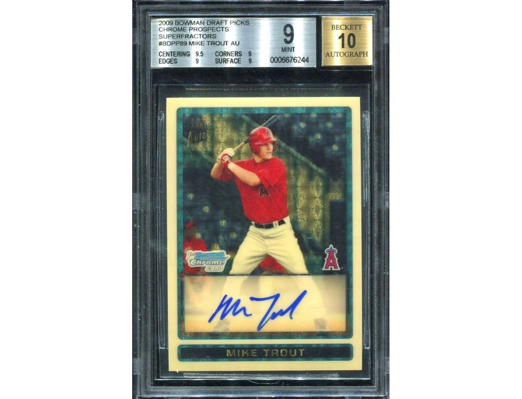 The Mike Trout Autographed Superfractor Rookie Card 1 Of 1