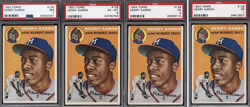 All 9 Of These 1954 Topps Hank Aaron Graded Rookie Cards Are