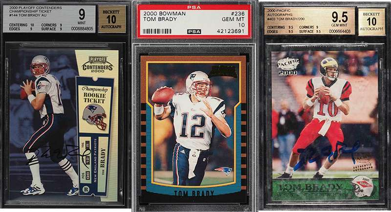 new concept e7df1 3abd6 Big list of Tom Brady football cards on auction ending ...