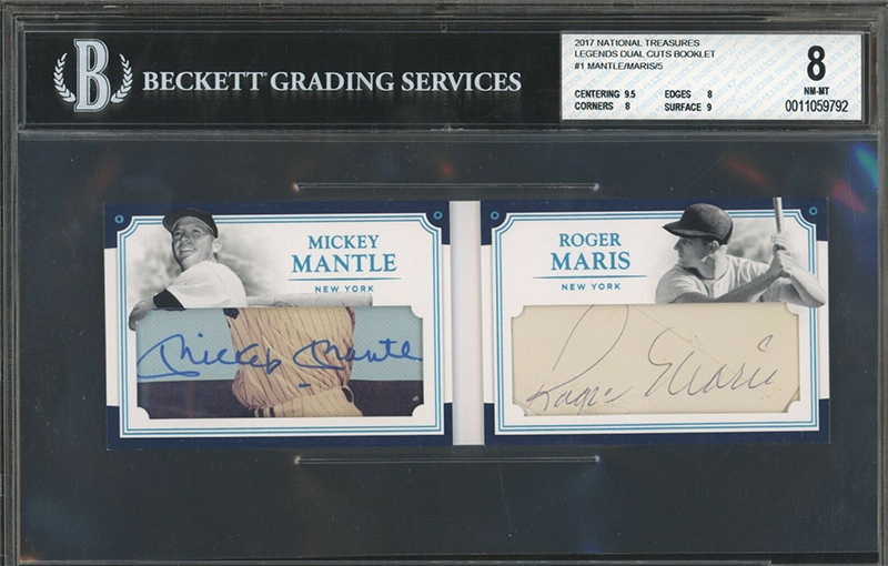 Dual Cut Autograph Of Mickey Mantle Roger Maris Not To Be Missed