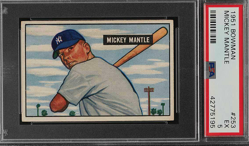 Several 1951 Bowman Mickey Mantle Graded Rookie Cards Will