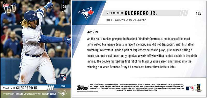 Get Your Best Selling Vladimir Guerrero Jr Topps Now Baseball Card