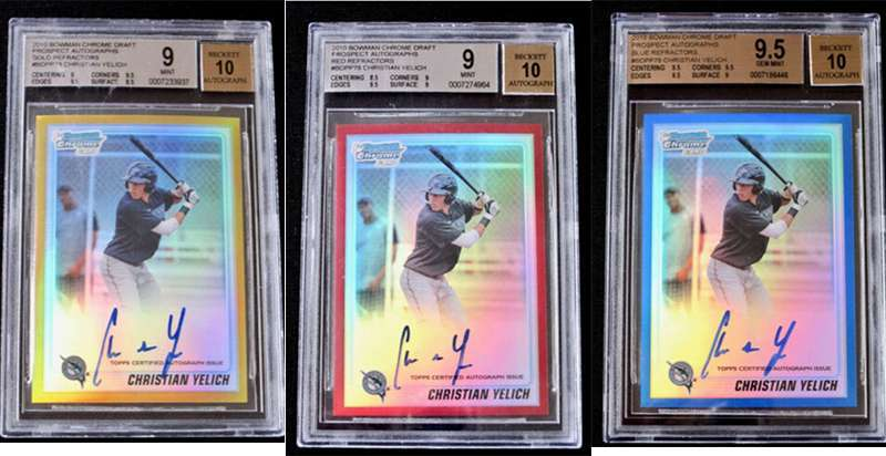 Several NL MVP Christian Yelich autograph rookie cards