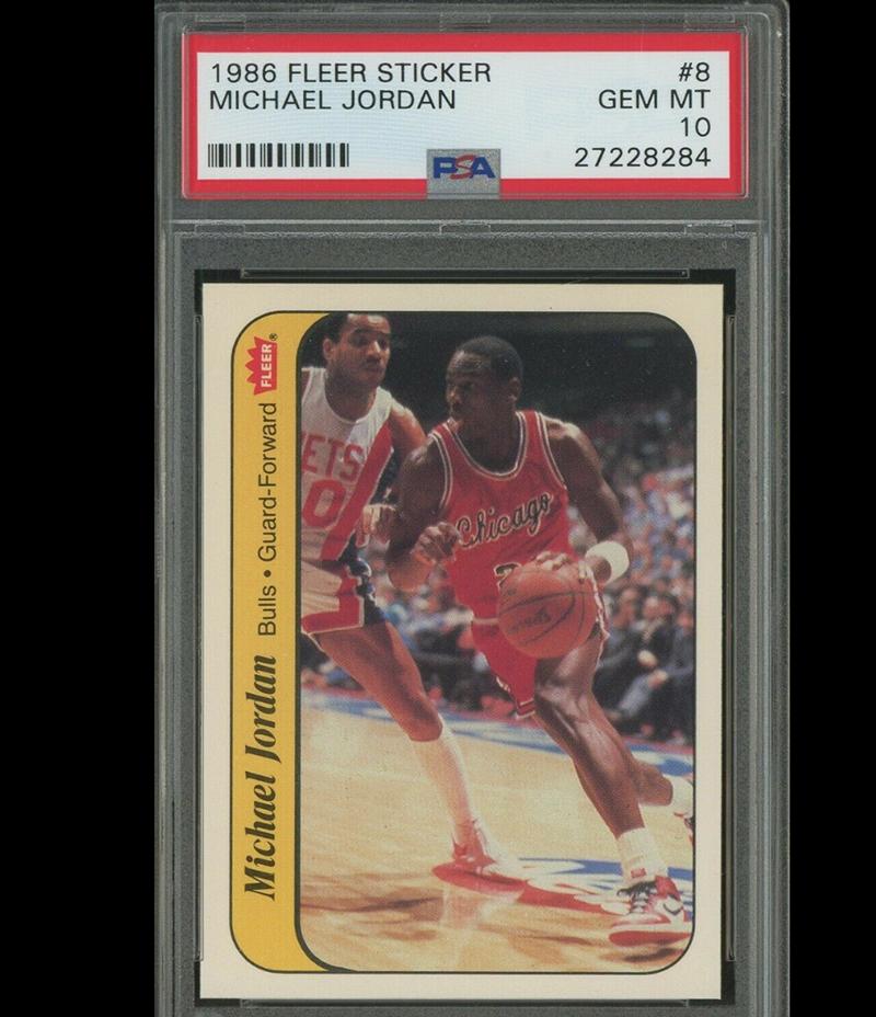 Card Of The Day Michael Jordan 1986 Fleer Sticker Rookie Card Psa